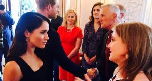 Photo tweeted by Catherine Noone showing the Senator talking to Meghan Markle. Photograph: Catherine Noone/Twitter