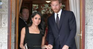 Britain's Prince Harry and Meghan attend a summer party at the British Ambassador's residence at Glencairn House in Dublin at the start of their two day visit on July 10th, 2018. Photograph: Brian Lawless/AFP/Getty Images