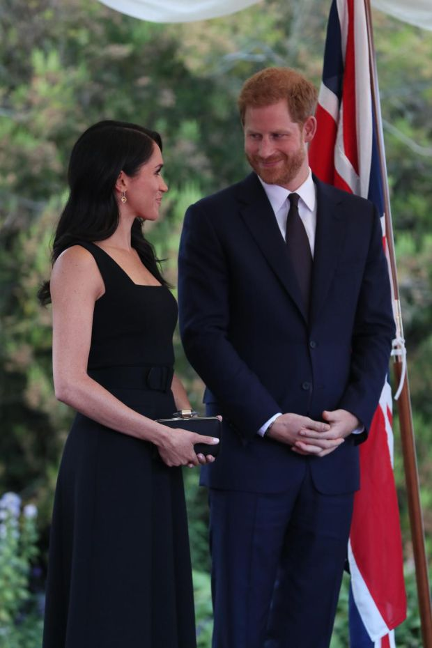 Prince Harry and Meghan at the British Ambassador's residence at Glencairn House in Dublin at the start of their two day visit. Photogrpah: Brian Lawless/ AFP/Getty Images