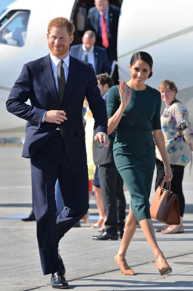 Prince Harry and Meghan Markle arrive at Dublin city airport on their official two day royal visit to Ireland. Photograph: Dominic Lipinski/Getty Images/Pool