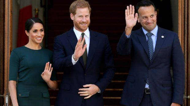 Taoiseach Leo Varadkar welcomes Meghan and Harry to Dublin. Photograph: Paul Faith/Getty Images