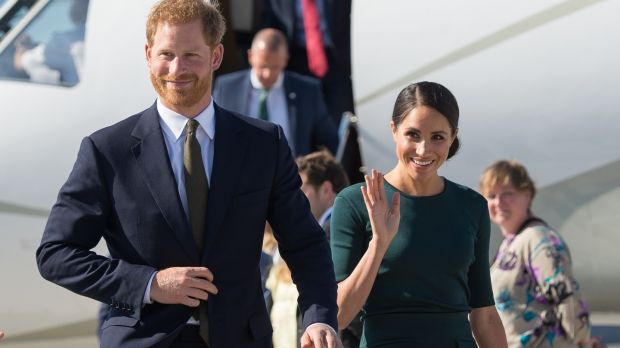Meghan Markle, Duchess of Sussex and Prince Harry, Duke of Sussex arriving into Dublin Airport for their visit to Ireland on Tuesday. Photograph: Dominic Lipinski/Getty Images