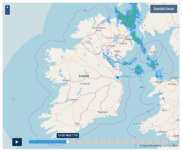 Met Eireann's rainfall radar from this morning shows some showers