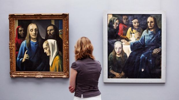 Faking it: paintings by Han van Meegeren, who sold a forged Vermeer to Hermann Göring. Photograph: Robin Utrecht/AFP/Getty