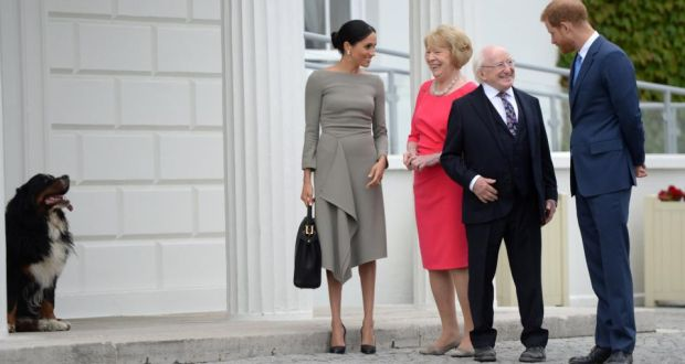 48623363e0 Meghan Markle (L-R) talking with Sabina Coyne as President Michael D  Higgins chats to