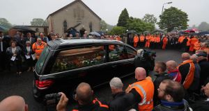The cortege arrives at Garryduff Presbyterian Church, Ballymoney, Co Antrim, for the funeral of motorcycle racer William Dunlop. Photograph: Niall Carson/PA Wire