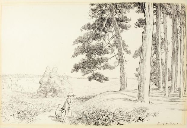 Christopher Robin and Pooh walking hand in hand to an enchanted place in the Forest - made €226,401