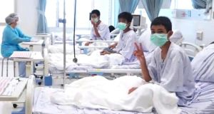 In this image taken from video, released by the Thailand Government Spokesman Bureau, three of the 12 boys rescued from the cave near Chiang Rai recover in their hospital beds in Mae Sai, northern Thailand. Photograph: Thailand Government Spokesman Bureau via AP