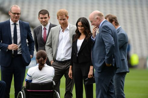 CROKE PARK: Harry and Meghan speaking to  Sarah Cregg, wheelchair hurling all-star, with Tanaiste Simon Coveney, Colin Regan and  GAA president John Horan. Photograph: Dara Mac Donaill / The Irish Times