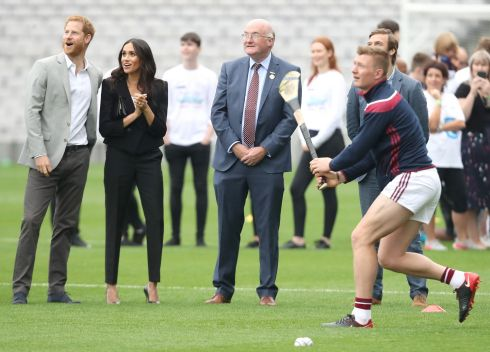 CROKE PARK: Harry and Meghan watch Galway hurler Joe Canning take sideline cuts. Photograph: Chris Jackson/Getty