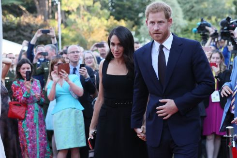 SUMMER PARTY: Harry and Meghan attend a party at the British ambassador's residence at Glencairn House. Photograph: Brian Lawless/Getty