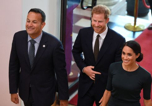 GOVERNMENT BUILDINGS: Harry and Meghan are welcomed by Taoiseach Leo Varadkar. Photograph: AFP