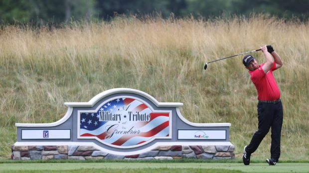 JB Holmes tees off the 14th hole during round two of A Military Tribute At The Greenbrier. Photo: Rob Carr/Getty Images