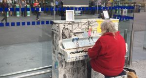 Playing the blues in Heuston Station in Dublin