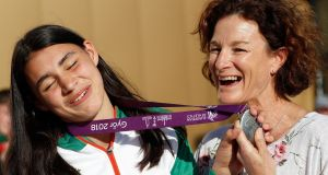Sophie O'Sullivan  celebrating her silver medal with  mother Sonia O'Sullivan after the medal ceremony for the 800m in Gyor, Hungary. Photograph:  Laszlo Balogh/Getty Images