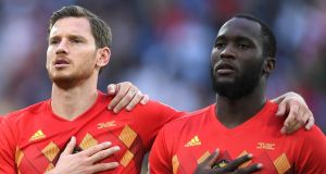 Jan Vertonghen and Romelu Lukaku of Belgium sing the national anthem ahead of their World Cup semi-final victory over Russia in Saint Petersburg.  Photograph: Laurence Griffiths/Getty Images