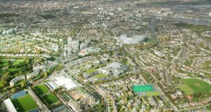 An aerial view of the Ballsbridge site that is being developed as a high-end office complex by Ronan Group Real Estate.