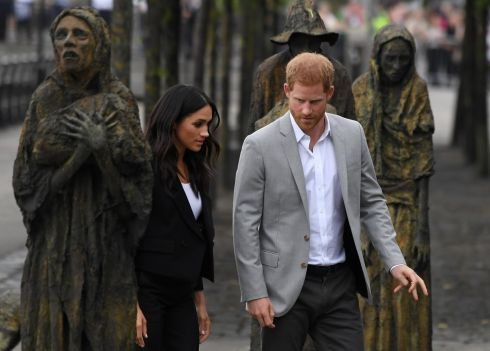 Prince Harry and Duchess of Sussex Meghan Markle visit the Famine memorial in Dublin. Photograph: Cathal McNaughton/Reuters