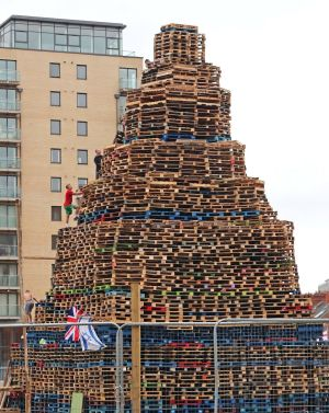 Bonfire builders in the Sandy Row area of Belfast. Photograph: Niall Carson/PA
