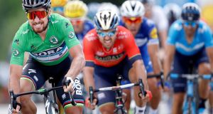 Bora-Hansgrohe rider Peter Sagan of Slovakia winning  Stage Five ahead of Bahrain-Merida rider Sonny Colbrelli of Italy. Photograph: Reuters/Stephane Mahe