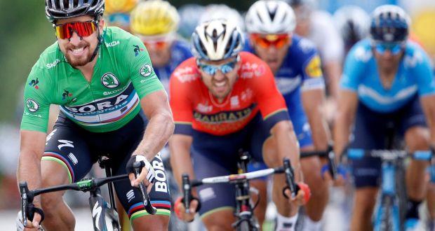 Bora-Hansgrohe rider Peter Sagan of Slovakia winning Stage Five ahead of  Bahrain-Merida 58acdcf05