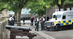 Several shots were fired at the police who were on the  Derry Walls above the Bogside on Wednesday morning. Photograph: Margaret McLaughlin