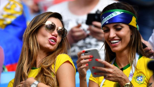 Brazil fans inside the stadium before the match against Mexico in Samara, Russia. Photograph: Dylan Martinez/Reuters