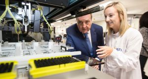 Minister of State Pat Breen with Lauren Blake, software test engineer at BD, at the formal opening of the medical device company's new centre of excellence in Limerick. Photograph: Liam Burke/Press 22