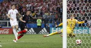Mario Mandzukic scores Croatia's second in extra time of the World Cup semi-final against England at the  Luzhniki Stadium in Moscow. Photograph:  Darren Staples/Inpho