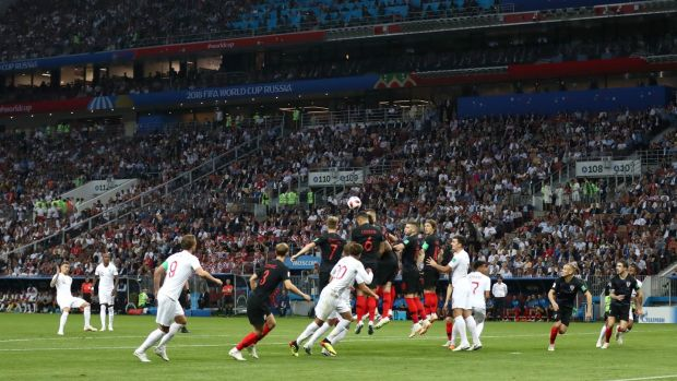 England's Kieran Trippier scores a free-kick during the World Cup semi-final against Croatia at the Luzhniki Stadium in Moscow. Photograph: Tim Goode/PA Wire