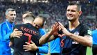 Croatia's defender Dejan Lovren celebrates his team's victory in Moscow. Photograph: Getty Images