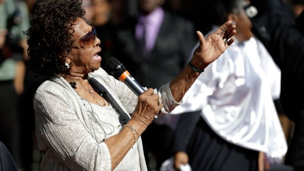 Cissy Houston, mother of the late singer Whitney Houston, performs with the New Hope Baptist Choir in 2017. File photograph: Julio Cortez/AP