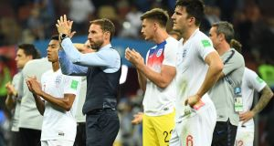 England manager Gareth Southgate  thanks the fans. Photograph: Getty Images