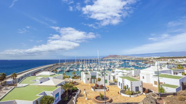 View over the new yacht harbour Marina Rubicon and Playa Blanca in Lanzarote.
