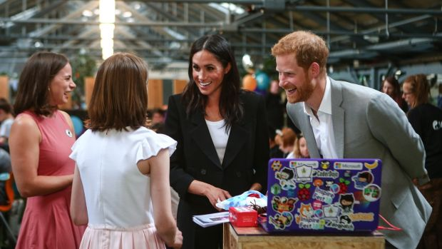 The Duke and Duchess of Sussex visit the Dogpatch startup hub in Dublin. Photograph: Jimmy Rainford/Getty Images