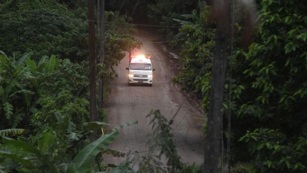 Thai cave rescue: an ambulance on its way to hospital during the mission. Photograph: Lillian Suwanrumpha/AFP/Getty