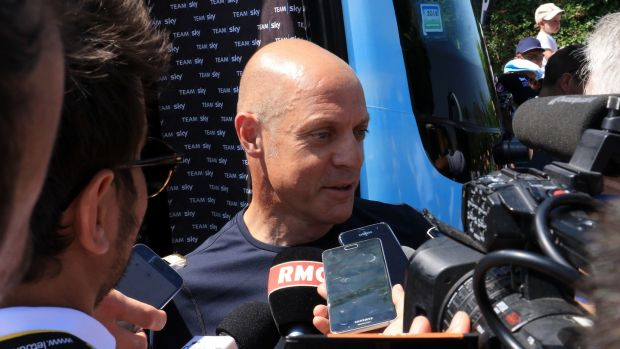 Dave Brailsford speaks to the media before the start of stage two. Photo: Ian Parker/PA Wire
