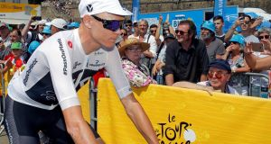 Team Sky rider Chris Froome before the start of Thursday's stage in the Tour de France. Photo: Stephane Mahe/Reuters
