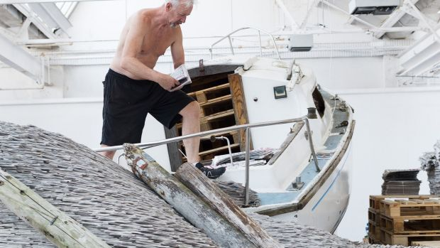 David Mach working on a Galway International Arts Festival commission to create one of his gargantuan newspaper installations. Photograph: Andrew Downes, xposure