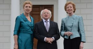 President Michael D Higgins with two former presidents, Mary McAleese and Mary Robinson, at Áras an Uachtaráin in 2013. Photograph: Cyril Byrne