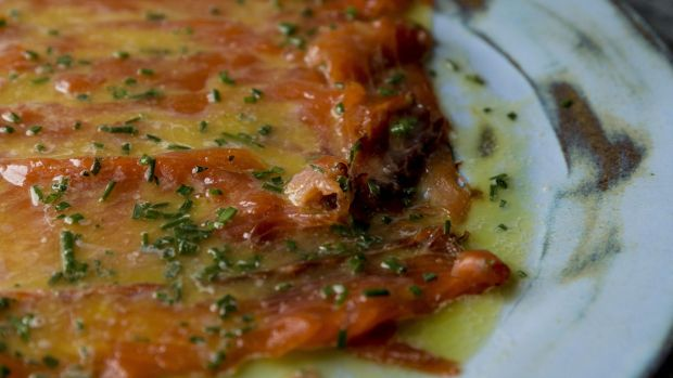 Marinaded salmon in sweet wine with green peppercorns Photograph: Emma Jervis