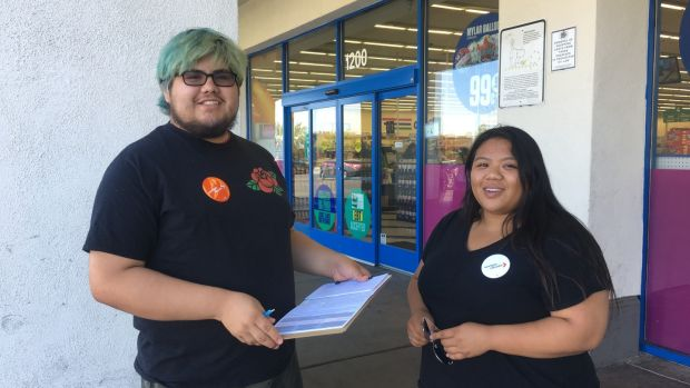 Manuel Ayala and Tia Yap of NextGen, who are trying to engage young voters. Photograph: Suzanne Lynch