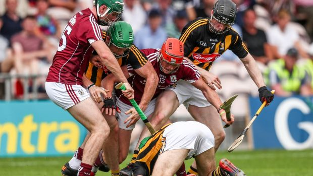 Galway's Cathal Mannion and Conor Whelan with Paul Murphy, Paddy Deegan and Enda Morrissey of Kilkenny during the Leinster final replay at Semple Stadium. Photograph: James Crombie/Inpho