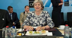 UK prime minister Theresa May in Brussels during the Nato summit. Photograph: Ian Langsdon/EPA