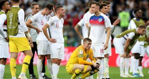 England players look on dejected following their loss to Croatia in the 2018  World Cup semi-finals in Moscow. Photo: Clive Rose/Getty Images
