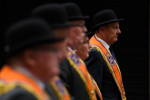 Members of Loyalist Orders at Twelfth of July celebrations in Belfast. Photograph: Clodagh Kilcoyne/Reuters