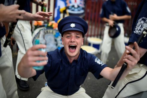 Jubilant loyalists in Belfast. Photograph: Clodagh Kilcoyne/Reuters