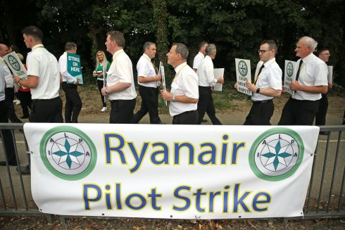 Ryanair pilots picket outside Dublin Airport after a last-ditch bid to resolve conditions of employment failed on Wednesday. Photograph: Brian Lawless/PA