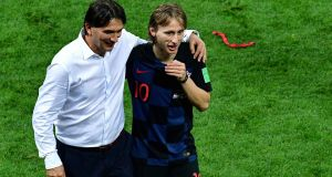 Croatia's Luka Modric and manager Zlatko Dalic celebrate after their 2018 World Cup semi-final win over England in Moscow. Photo: Mladen Antonov/Getty Images