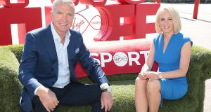 Graeme Souness and Sinéad Kissane pictured at a recent event to announce the rebrand of TV3 to Virgin Media. Photograph: Brian McEvoy